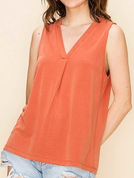 Pleat Front V Neck Sleeveless Top