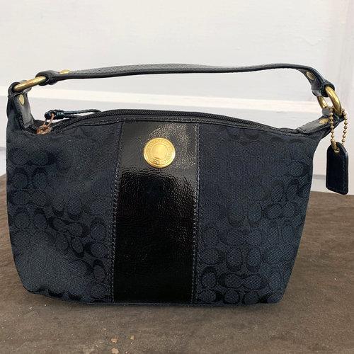Coach Mini Bag Black Fabric with Black Patent Leather