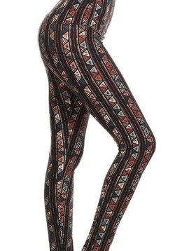 CURVY Aztec Stripe Yoga Band Legging