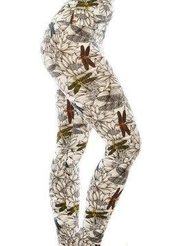 CURVY Floral Dragonfly Yoga Legging