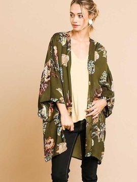 Floral Print Olive Kimono