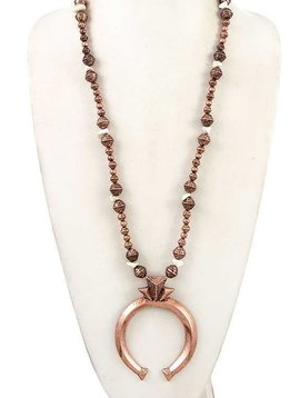 Beaded Copper Squash Blossom Necklace