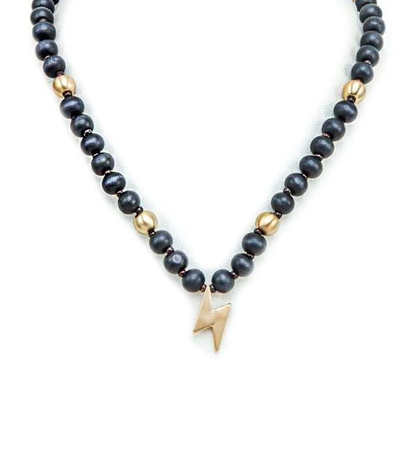 Black Lightning Wood Bead Necklace