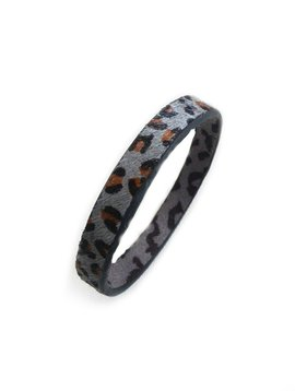 Gray Animal Print Leather Bangle Bracelet