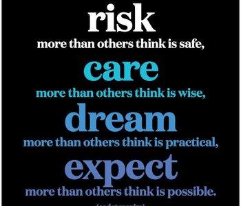 Risk Care Dream Expect Inspirational Card