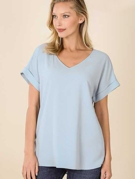 CURVY Ash Blue Rolled Sleeve V Neck