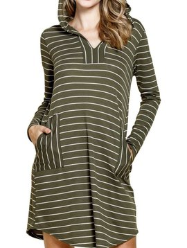 Striped Hooded Thermal Knit Dress