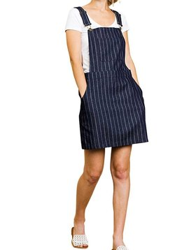 Striped Denim Overall Dress