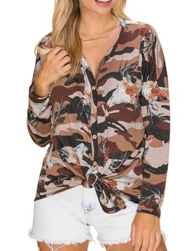 Bullhorn Camo Button Down Top