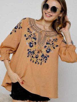 Autumn Embroidered Peasant Top