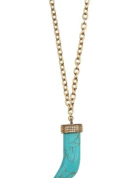 Turquoise Horn Gem Necklace