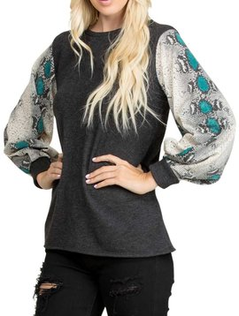 Puff Sleeve Snake Print Top