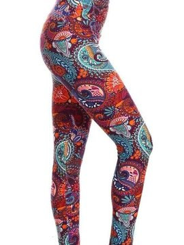 CURVY Brad Cranberry Paisley Yoga Legging