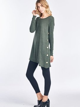 Olive Side Button Detail Knit Tunic
