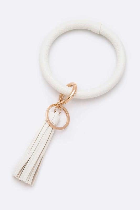 White Tassel Key Ring Bracelet