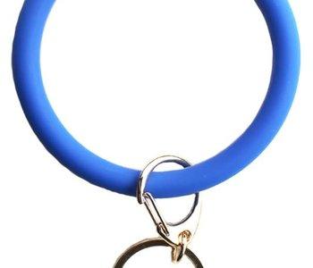 Blue Silicon Key Ring Bracelet