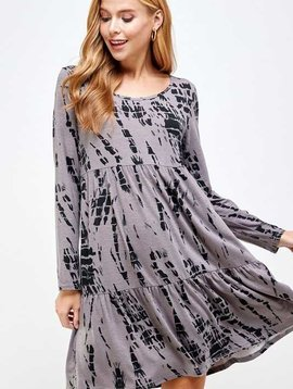Black & Gray Tiered Tie Dye Dress