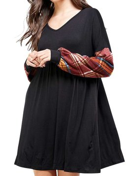 CURVY Black & Rust Plaid Puff Sleeve Dress