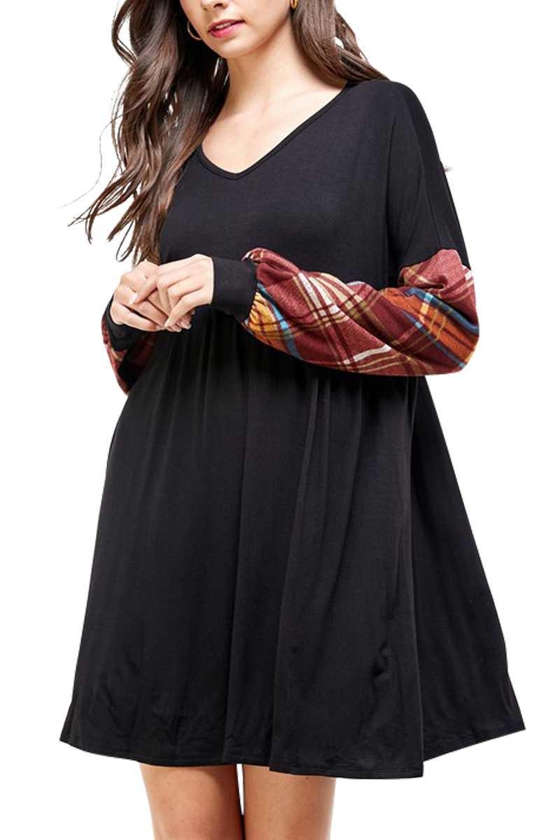 SALE: CURVY Black & Rust Plaid Puff Sleeve Dress