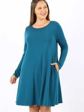 CURVY Teal Long Sleeve Shirt Dress