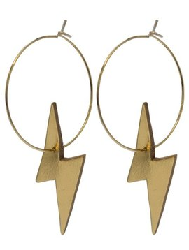 Gold Lightning Leather Earrings