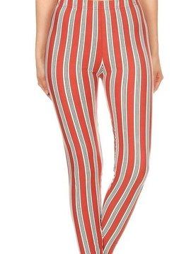 Candy Stripe Elastic Band Legging