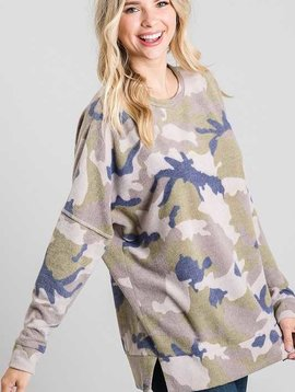 Blue Olive French Terry Camo Top