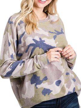 CURVY Blue Olive French Terry Camo Top