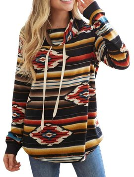 Colorful Aztec Cowl Neck Top