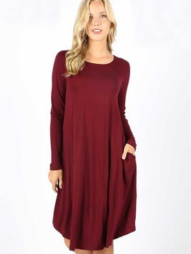 Burgundy Long Sleeve Swing Dress