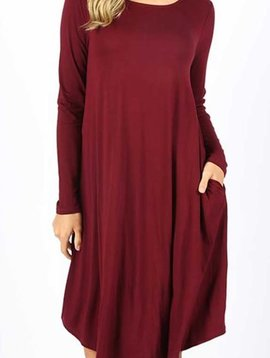 CURVY Burgundy Long Sleeve Swing Dress