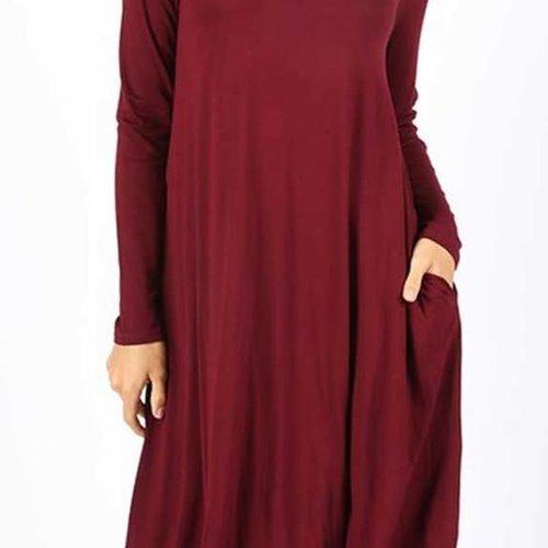 CURVY Burgundy Long Sleeve Swing Dress