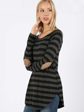 Striped Elbow Patch Raglan Top