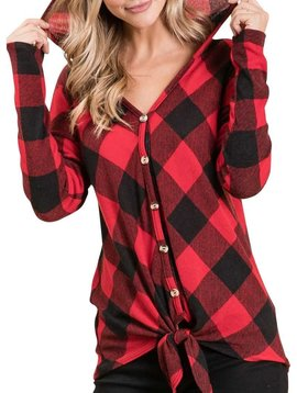 Buffalo Plaid Tie Front Top