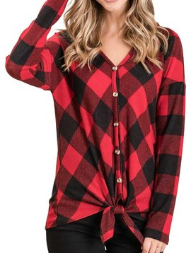 CURVY Buffalo Plaid Tie Front Top