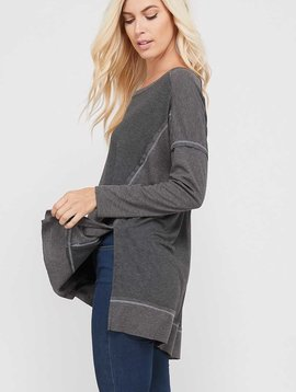 Charcoal Contrast High Low Top