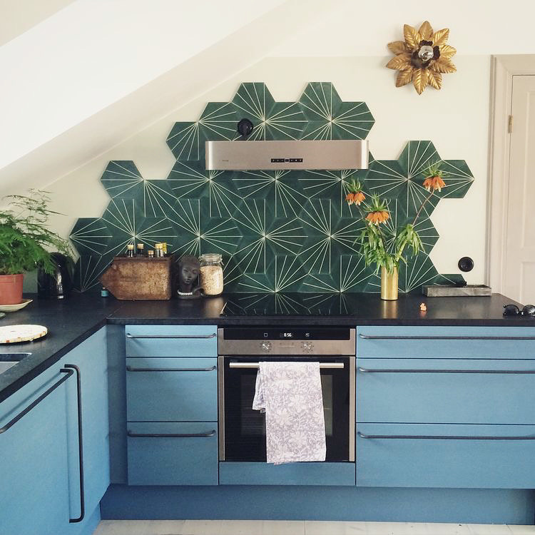 Green Tiled Kitchen + other GREEN spaces we love