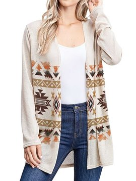 Aztec Knit Long Sleeve Cardigan
