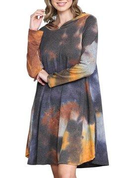 CURVY Tie Dye Hoodie Dress