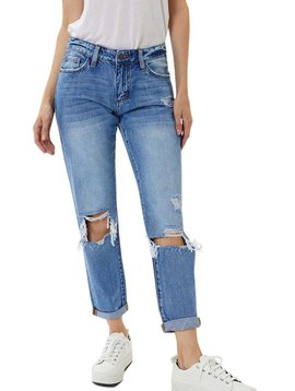 Mid Rise Distressed Cuffed Jeans
