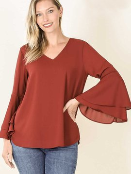 Fired Brick Bell Sleeve Top