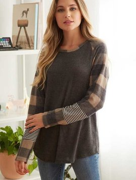 CURVY Black & Tan Checkered Long Sleeve Top