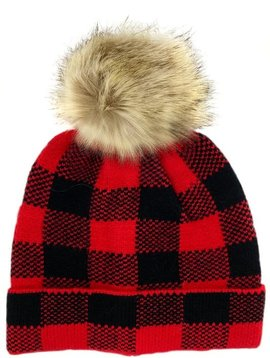 Red Plaid Fur Pom Beanie