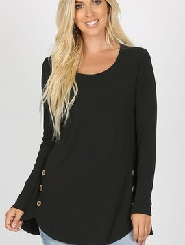 CURVY Black Dolphin Hem Top