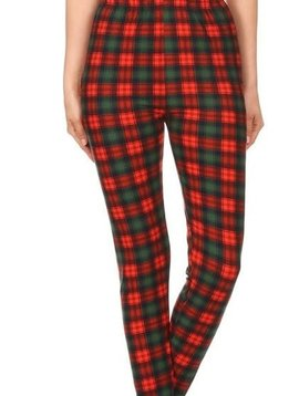 Holiday Plaid Elastic Band Legging