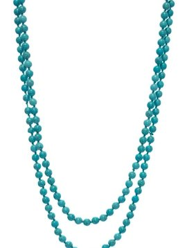 Turquoise Long Natural Stone Beaded Necklace
