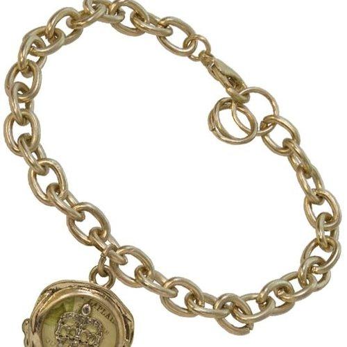Golden Crown Seal Charm Bracelet