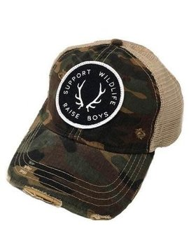 Support Wildlife Raise Boys Camo Patch Cap