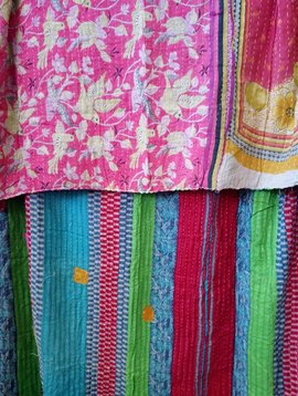 Kantha Sari Throw #369