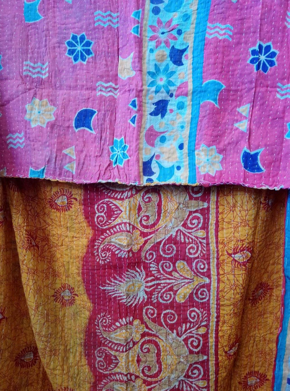 Kantha Sari Throw #380